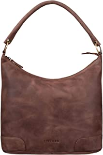 STILORD 'Tessa' Handtasche Damen Leder Groß Shopper Ledertasche Hobo Tasche Elegante Vintage Schultertasche Tote Bag aus E...