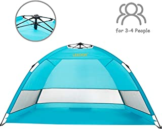Leedor Sun Shelter Easy Setup Pop Up Beach Tent Portable Baby Canopy Quick Instant Automatic Sport Umbrella Sun Shade with 50+ UV Protection for Outdoor 3-4 Person