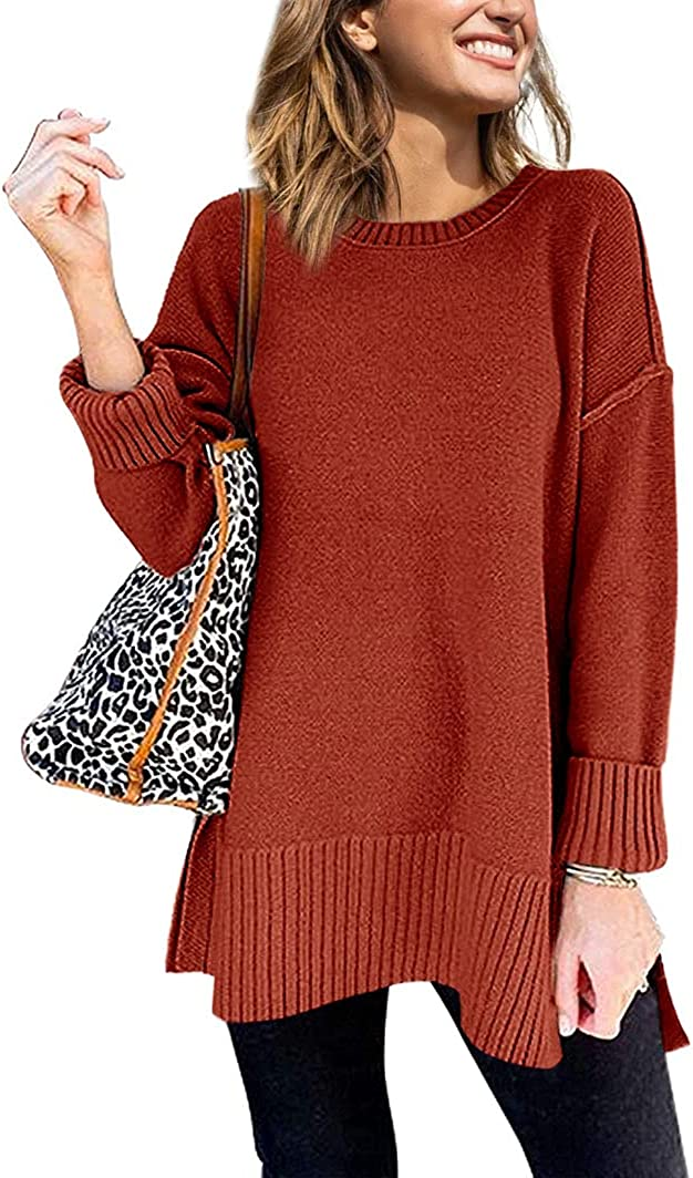 Klousilover Womens Oversized Fall Sweaters Soft Knit Crew Neck Side Split Long Sleeve Slouchy Pullover Jumper