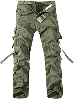Hapeisy Men Solid Color Tooling Trousers with Pocket