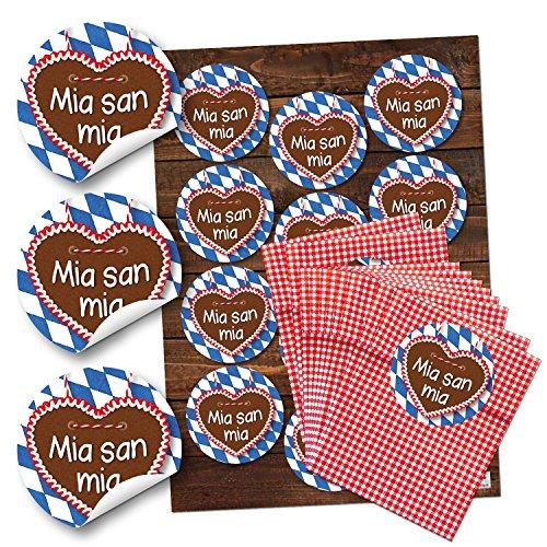 12 kleine rot gepunktete Papiertüten Geschenktüten Geschenk-Verpackung (9,5 x 14 cm) und 12 weiß karierte Bayern Lebkuchenherz Aufkleber Sticker (6 cm)