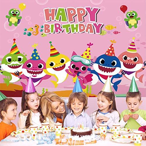 1.5 * 2m Pink Baby Pink Blue Banner Background Prop Baby Happy Birthday Banner para Girl Party Fotografía Telones de fondo Decoraciones del océano