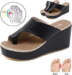 Women Flats Sandals Summer Shoes Bunion Corrector Platform Shoes Comfortable and Arch Support Strappy Footbed Leather Sandals Women's Flip-Flop Sandals,Black,39 EU