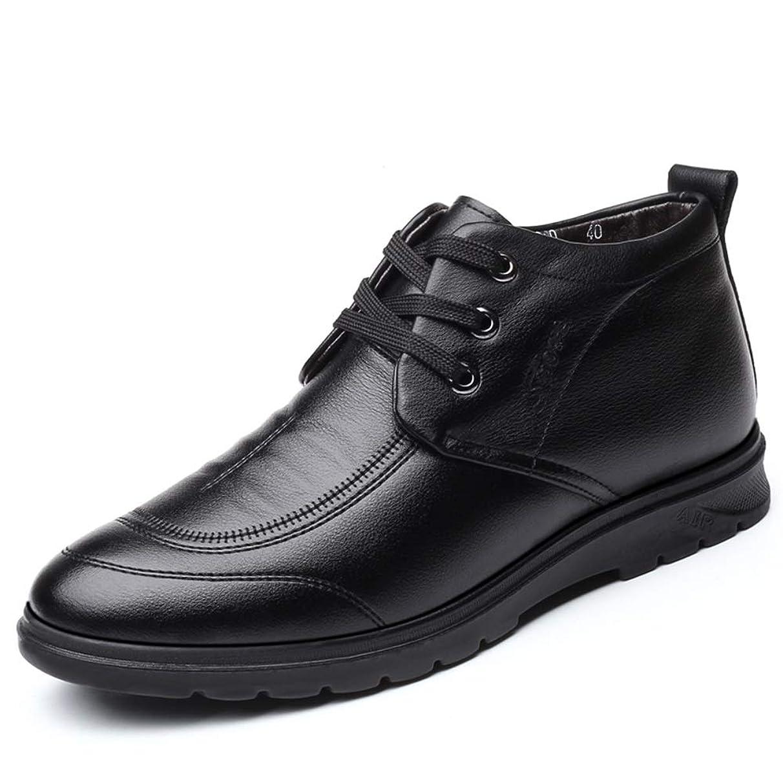 バリー傾いた程度靴メンズファッションアンクルブーツカジュアルシンプルな丸いつま先レース冬のフェイクフリース内側ハイトップブーツ