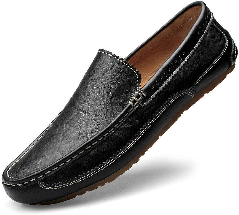 Hhgold Men's Moccasins shoes, Lightweight Mens Loafer Bare Vamp Wing-Top Edge Slip-on Flat Soft Sole Formal Business Moccasins (color  Black, Size  43 EU) (color   As shown, Size   One size)
