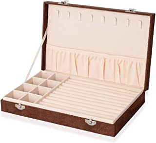 Shop LC Delivering Joy Brown Velvet Jewelry Organizer Box Storage with Scratch and Anti Tarnish Protection Lining