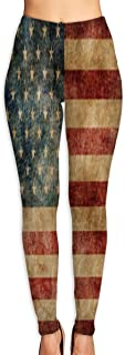 Cyloten Vintage Grunge American Flag Yoga Pants Washable Legging Tights Quick Dry Sportswear for Women Girl Workout