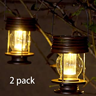 Obell Hanging Solar Lights 2 Pack Outdoor Garden Lights LED Retro Solar Hanging Lanterns with Handle for Pathway Yard Patio Tree Decor Table Lamp Lights (Warm Lights)