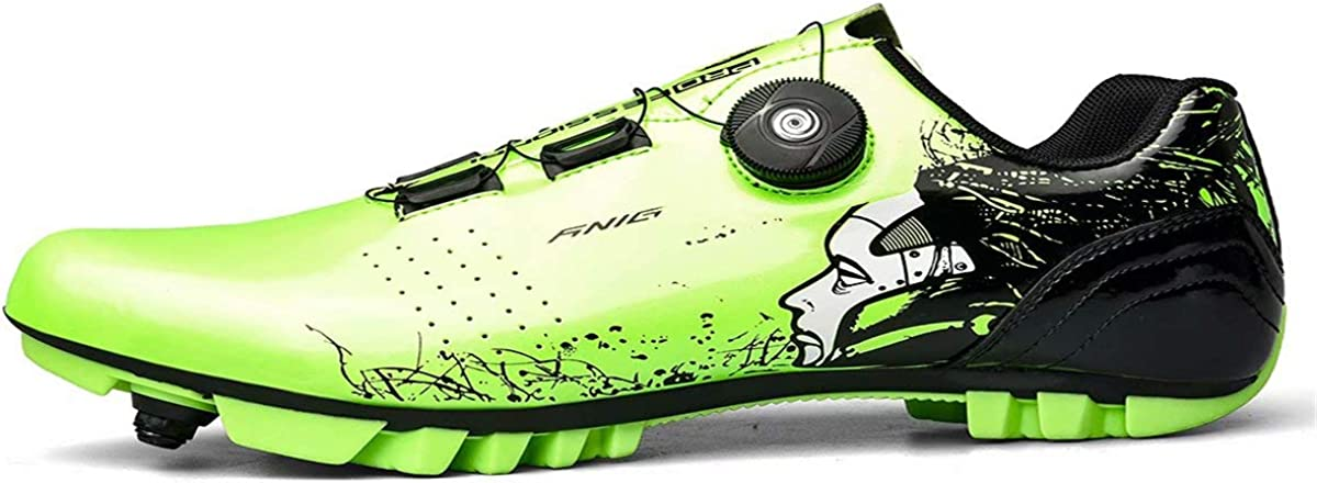 Womens Cycling Ready Cycling Shoe Bundle with Compatible Cleat Green White SPD Look Delta
