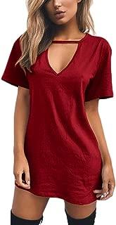 Celmia Women Mini T Shirt Dress Summer Choker Sexy Juniors Dresses V Neck Long Tops