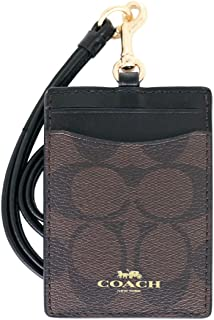 COACH Women's Outlet Card Case Embossed Pattern Lanyard Id Identification Cases