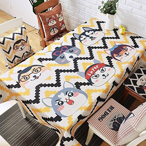 HXC Home 140 * 230 cm geel zwart welpen hond cartoon kind modern in tafelkleden katoen linnen eettafel reception rechthoekige vierkant niet strijken milieuvriendelijk tafelkleed