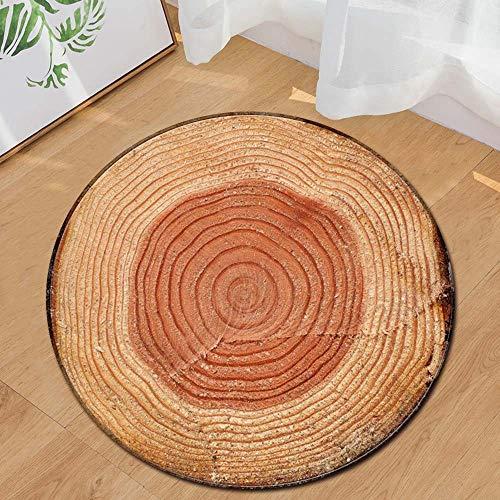 Runder Teppich Home Area Rug Baum Jährliche Ring Holzmaserung Kissen für Kinder Spielen Wohnzimmer Boden Yoga-Matte(Mehrfarbig J,Diam 60cm)