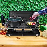 Milestone Camping 18929 Double Burner Gas Stove and Grill / Powerful Performance / Easy to Use / Compact and Practical Design / Ideal for Camping, Caravan Stays and BBQ