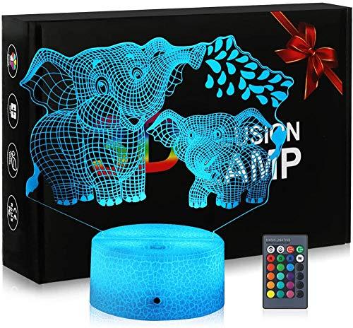 3D ilusión lámpara elefantes 3D noche luz para niños 16 colores luces LED con interruptor táctil para niños regalos decoración dormitorio