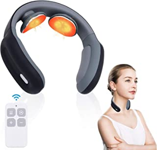 Intelligent Neck Massager with Heated 4D Smart Cordless Pulse Portable Neck Massager 3 Modes and 15 Speeds Electric Massage Equipment for Office, Home,Travel, Gifts for Women Men Dad Mom