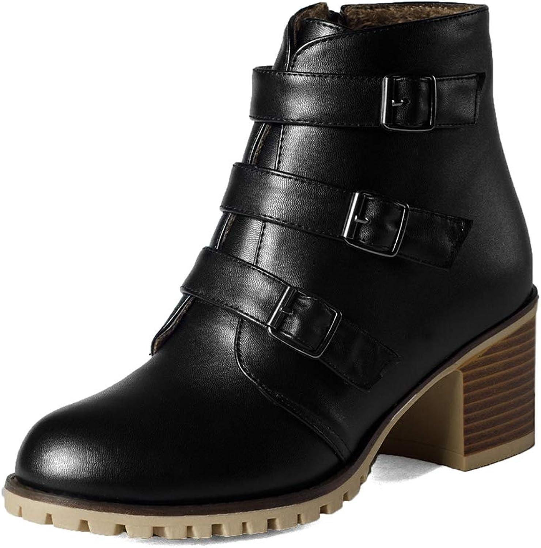 GIY Women Winter Waterproof Warm Ankle Boots Side Zipper Round Toe Low Square Heels Western Boots