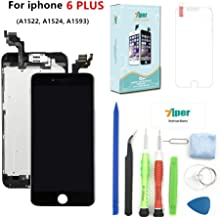 Screen Replacement for iPhone 6 Plus (5.5') - LCD Display Touch Digitizer Frame Assembly Set with Proximity Sensor, Front Camera, Earpiece, Tempered Glass, Repair Tools and Instruction (Black)