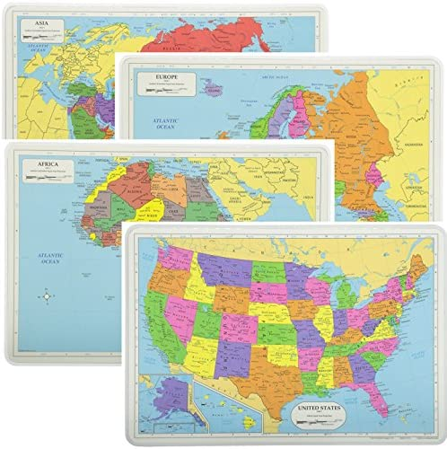 Painless Learning Educational Placemats Sets USA Africa Asia and Europe Maps Non Slip Washable product image