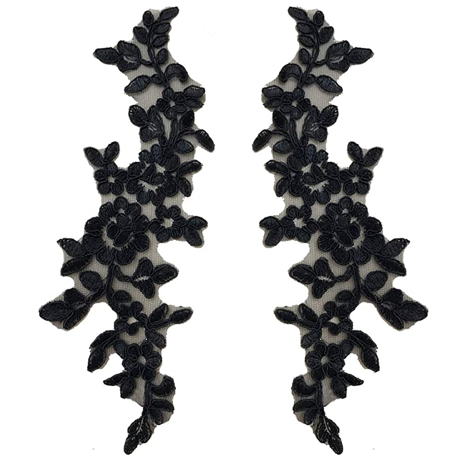 Pbhouse 1 Pair Black Large Flower Sew on Embroidered Appliques Patch Lace Fabric Ribbon Trim Neckline Collar