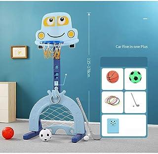 Toddler Basketball Hoop Set Height Adjustable Stand, 4 in 1 Sports Activity Center Basketball, Football/Soccer Goal, Golf,...