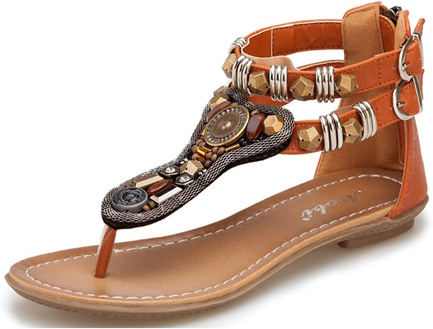 Jazlyn Women's Retro Roma Metal Beads Zipper Strappy Flat Sandals