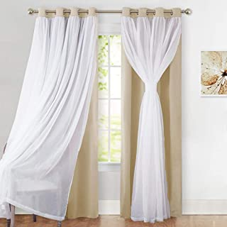 PONY DANCE Sheer Curtains Blackout - Heavy Duty Light Block Window Curtain Panels Modern Voile Crushed Sheer Linen, 52 x 108 inches, Biscotti Beige, 1 Pair