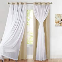 PONY DANCE Sheer Window Curtains - Mix & Match Window Treatments Light Block Drapes Blackout Panels for Living Room, 52 by 95 in, Biscotti Beige, 2 Pieces