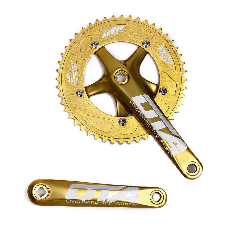 シングルスピード自転車クランクセットチェーンホイール170ミリメートルクランクアーム130 BCDチェーンホイール48Tピストクランクセット用シングルスピードバイク、固定ギア自転車、トラックロードバイク