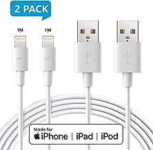 Amoner- Cable Lightning Cable Cargador iPhone-[Apple MFi Certificado]-Garantía de por Vida-Compatible con iPhone XS MAX XR X 8 Plus 7 Plus 6S 6 Plus 5 5S 5C SE iPad iPod-Blanco 1m 2 pack