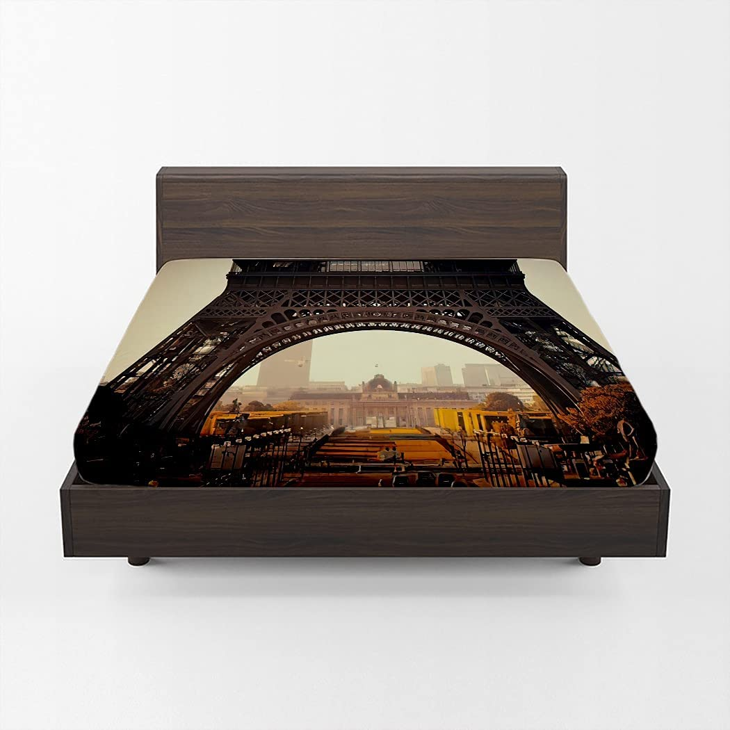 Huipaya Paris Street wholesale Fitted Mail order Sheet Eiffel Tower Fa As The