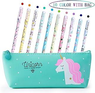 Penne per Unicorno Ragazze Regalo di Compleanno per Bambine, VSTON Simpatiche penne per unicorno Set per penne a Sfera Lat...