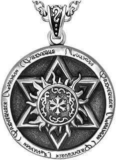 El patrón Retro de la Llama del Acero Inoxidable de los Hombres realzó la Estrella del Collar Pendiente de David 24 Cadena de la Pulgada