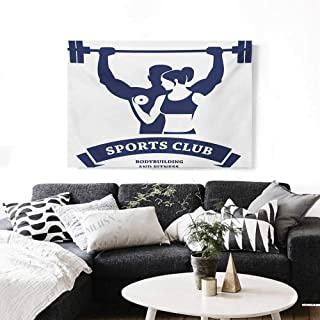 Fitness Canvas Wall Art Sports Bodybuilders Club Man and Woman with Dumbbells Muscles Biceps Form Print