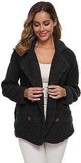 Women's Short Coat Warm Jacket with Button Plush Coat Winter Jacket Outerwear Long Sleeve Winter Parka Outerwear