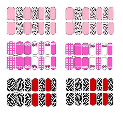 [6 Sheet]Nail Art Sticker Nail Decal Full Nail Wrap Nail Art Tattoo-Pattern F