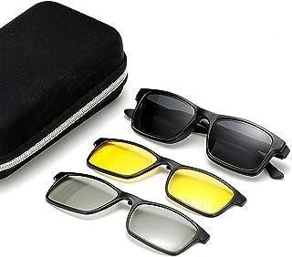 نظارات 3pcs Interchangeable Lenses For Men Women Night View And 3D Lens Unbreakable TR90 Frame Clip-on UV Protection Magic...