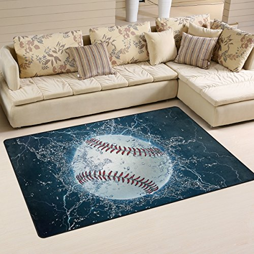 "Non-Slip 39"" x 60"" Area Rug Pad for Hardwood Floors by DEYYA, Baseball Door Mat for Bedroom Bathroom Decorative Lightweight Printed Rugs Carpet, Non-Slip Rug Pads for Hardwood Floors"