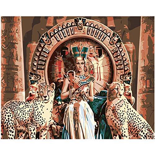 SHHSGZ 30x40cm Malen nach Zahlen Erwachsene Anfänger Kinder Malen Nach Zahlen Kits Leinwand für Gemälde Handgemalt Kit DIY-Kleopatra (Frameless)