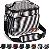 Insulated Lunch Bag for Women/Men - Reusable Lunch Box for Office Work School Picnic Beach - Leakproof Cooler Tote Bag Freezable Lunch Bag with Adjustable Shoulder Strap for Kids/Adult-Stripe