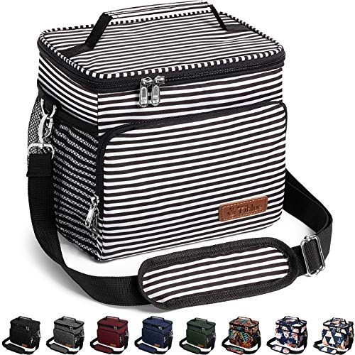Insulated Lunch Bag for Women/Men  Reusable Lunch Box for Office Work School Picnic Beach  Leakproof Cooler Tote Bag Freezable Lunch Bag with Adjustable Shoulder Strap for Kids/AdultStripe