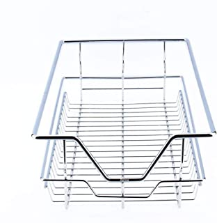 Kitchen Sliding Cabinet Organizer,Pull Out Chrome Wire Storage Basket Drawer Pull Out Cabinet Shelf for Kitchen Cabinets Cupboards (12.4 17.3 5.3
