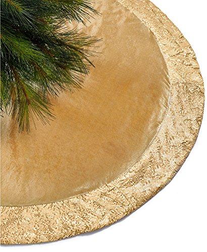 Holiday Lane Gold Sequin Border Tree Skirt Gold
