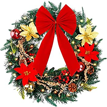FUNARTY 24 Inches Christmas Wreath with Lights Poinsettia Golden Berries Bowknot for Winter Christmas Holiday Decor