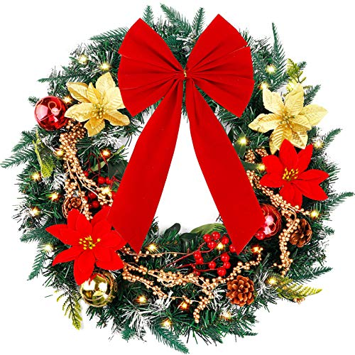 FUNARTY 24 Inches Christmas Wreath with Lights, Poinsettia, Golden Berries, Bowknot for Winter Christmas Holiday Decor