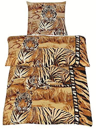 4tlg Microfaser Bettwäsche Set Tiger in Braun Sand Creme Beige 2X Bettbezug 135x200cm 2X Kopfkissenbezug 80x80cm Raubkatze