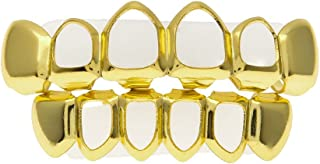 Hot Sale!OWMEOT 18k Gold/Sliver-Plated Stainless Steel 6 Tooth Grillz (Top/Bottom/Set) (Gold)