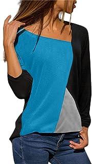comprar comparacion Blusa Moda Patchwork Casual para Mujer Sudadera con Capucha Tallas Grandes Color Block Tallas Grandes O-Neck Manga Larga C...