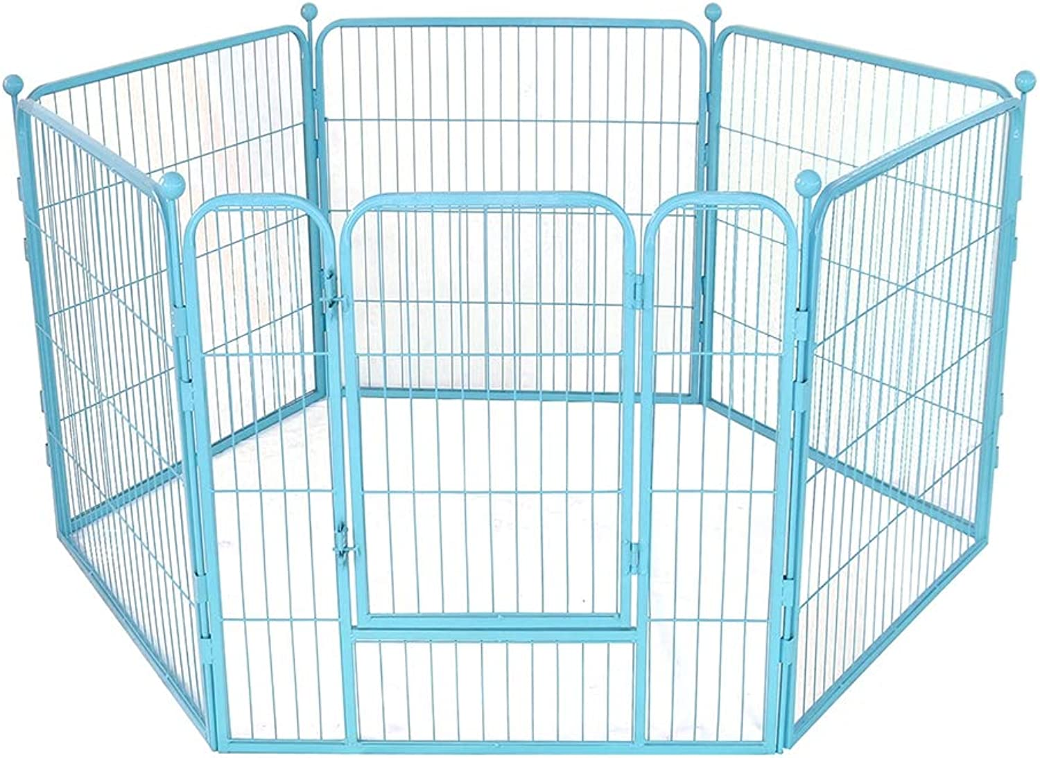 QNMM 6 Panel Dog Playpen Pet Exercise Pen Metal Pet Fence Puppy Metal Playpen Play Pen Suitable for Small and Medium Pets,bluee,S