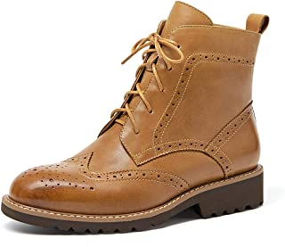 Beau Today Brogue Boots Women Leather Shoes Ankle Booties Polished Wingtips